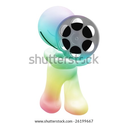 3D icon figure holding a film stock roll - stock photo