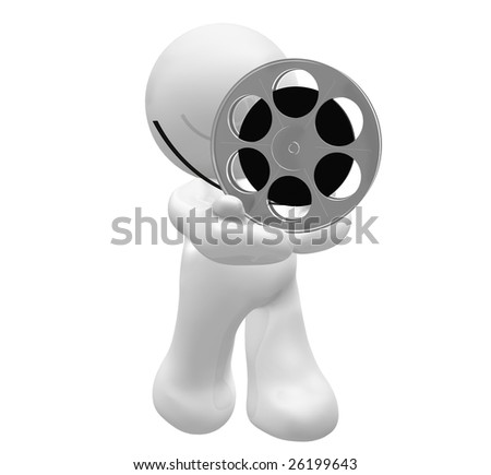 3D icon figure holding a movie reel roll - stock photo