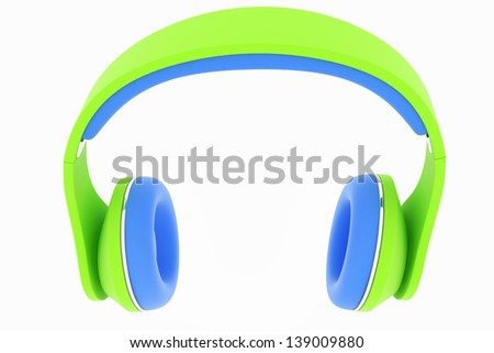 3d icon of colorful headphones isolated on white background - stock photo
