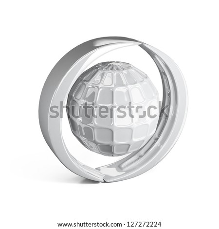 3d icon of global connection isolated on white
