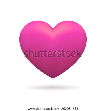 3D icon of pink heart. Isolated sign of heart on white background. Element for greeting card, banner, promotion, invitation, flyer, etc. - stock photo