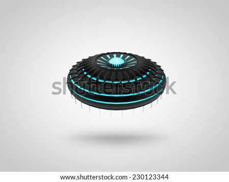 3D illistration of flying saucer - stock photo