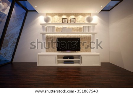 3D illusrtation of TV unit with shelves and backlight