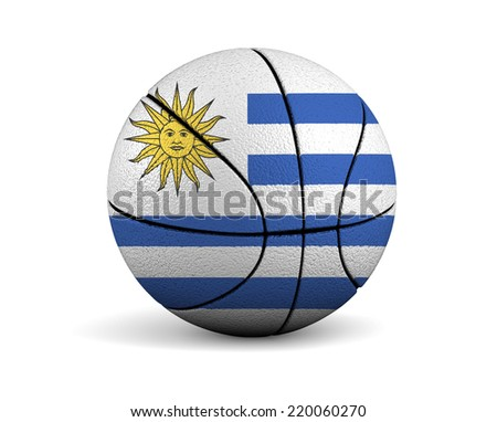 3d illustrated basketball with Uruguay flag