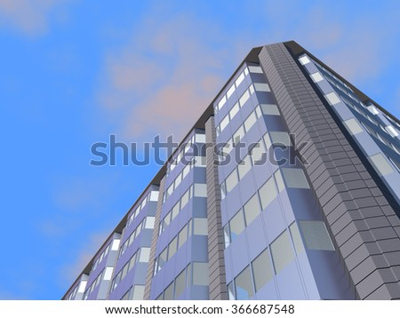 3D illustrated bottom-up perspective view of a modern administrative or business building with a blue sky on background