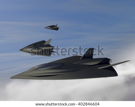 3D illustrated patrol of 3 futuristic fictional black stealth fighter aircrafts flying above the clouds