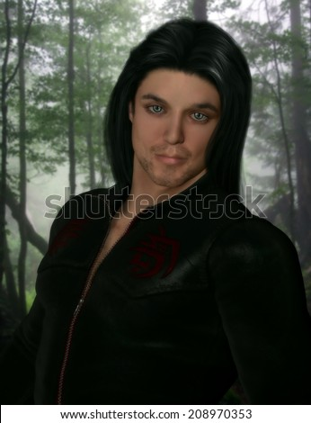 3D illustrated portrait of a sexy male character wearing a black leather zip up shirt with long black hair and blue eyes.  Forest background.