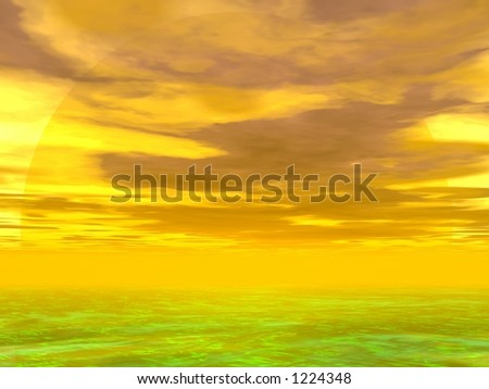3D illustrated yellow sunset over the sea