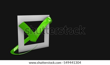 3d illustratio of Large flat buttons: green check mark crosses. square, hard and rounded corners. isolated black