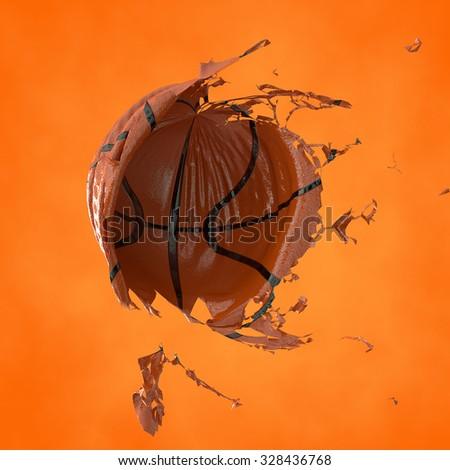3d illustration a basketball fragmentary ball. Ball distraction. crush - stock photo