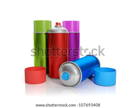 3d illustration: A group of colorful aerosol are on the table - stock photo