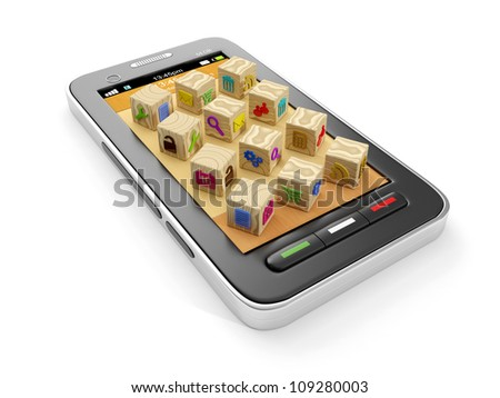 3d illustration: A group of icons and mobile phone. Creating icons for the manufacture of mobile applications