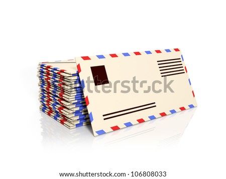 3d illustration: A group of paper envelopes, emails
