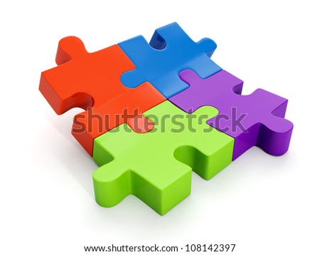 3d illustration: A group of puzzles, the designer