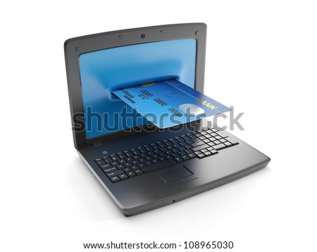 3d illustration: A laptop and a credit card, electronic money
