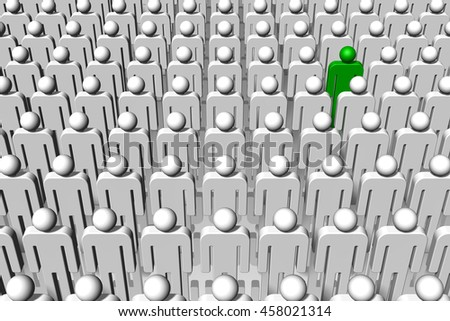 3D illustration. A single individual, green, stands out from the crowd. - stock photo