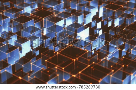 3D illustration, abstract background of cubes and interconnected lines representing technological connections.