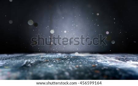 3D illustration.Abstract empty floor background in the dark.Lights defocused.Close up scenery cement floor background and shimmering glitter  - stock photo