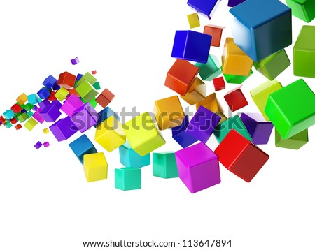 3d illustration: abstract idea. Group of colorful cubes flying in the air - stock photo