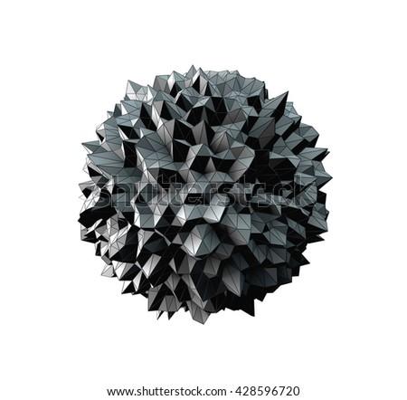 3D Illustration - Abstract irregular spherical shape isolated on white background - stock photo