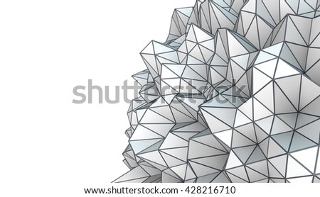 3D Illustration - Abstract low poly shape isolated on white background - stock photo