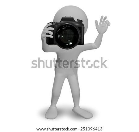 3d Illustration Abstract Man with a Camera