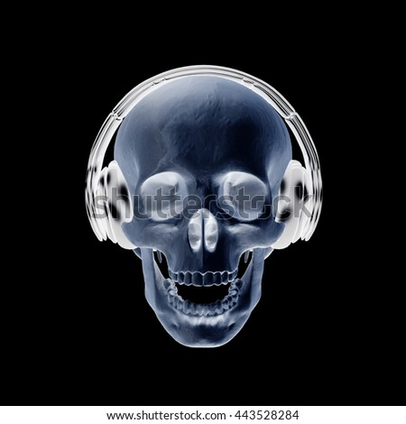 3D illustration abstract skull with headphone with clipping path.