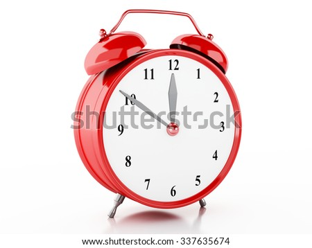 3d illustration. Alarm clock on isolted white background