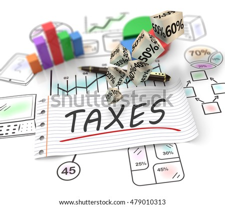 3D Illustration analysis of financial data in charts, accounting, tax return, banking, statistics, vision for the future