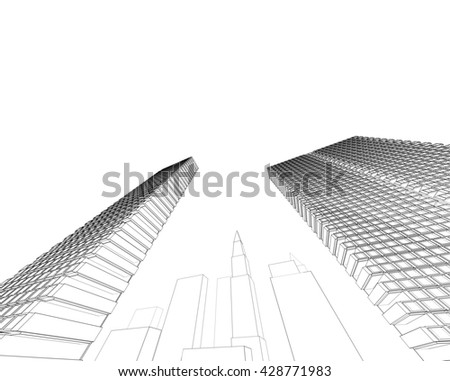 3d illustration, architecture abstract
