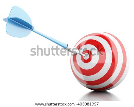3d Illustration. Arrow in target. Concept of business and success. Isolated white background.
