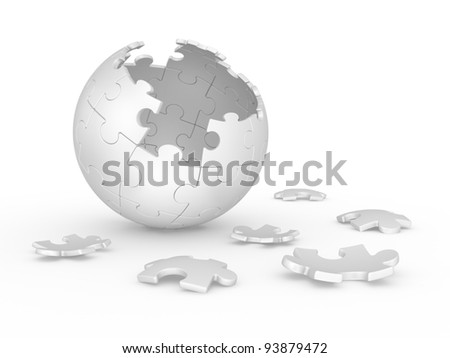 3d illustration broken sphere of puzzle on white background