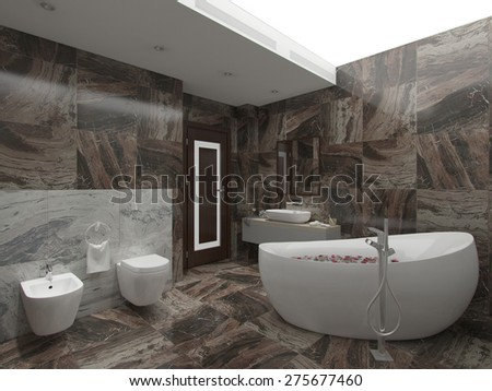 3d illustration brown bathroom