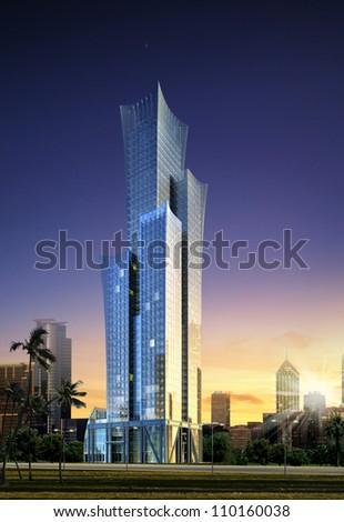 3D Illustration Business building - stock photo