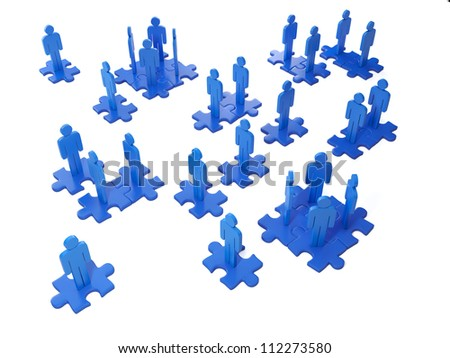 3d Illustration: Business ideas. Team work and cooperation of the people - stock photo