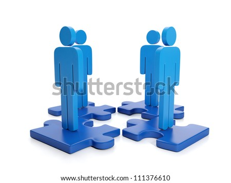 3d Illustration: Business Partnership. Search for the head of