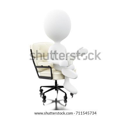 3d illustration. Business people sitting on a office chair. Business concept. Isolated white background
