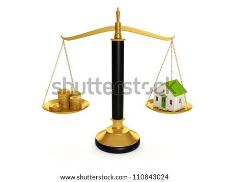 3d illustration: Buying real estate. Concept selling a home for the money - stock photo