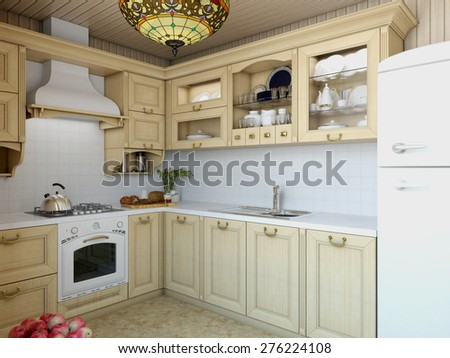 3d illustration c�ozy kitchen in the house of the carcass - stock photo