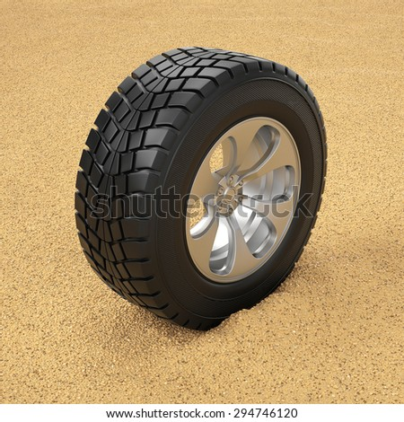 3d illustration. Car tire in the sand. Winter tires - stock photo
