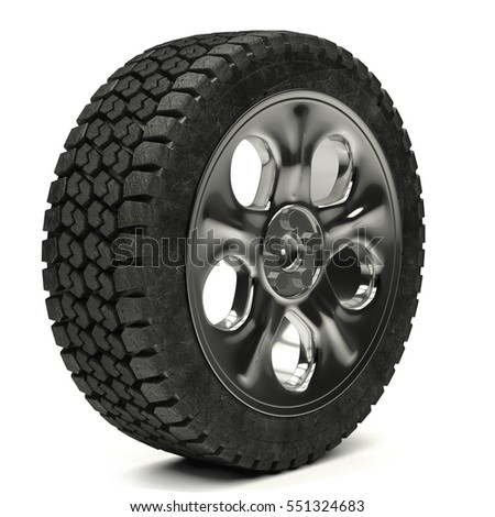 3d illustration Car wheels on a white background