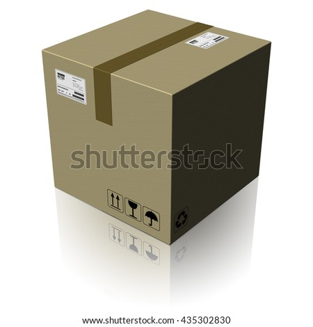 3D illustration. Cardboard, ready to ship parcel - stock photo