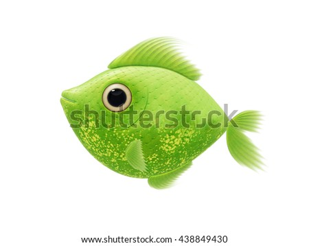 2D illustration cartoon of a cute green fish - stock photo
