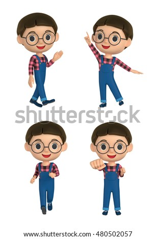 3D illustration character - The boy who makes a pose wearing glasses.