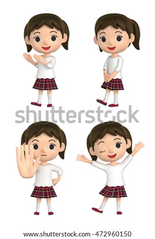 3D illustration character - The girl who wears a checkered skirt and makes a pose.