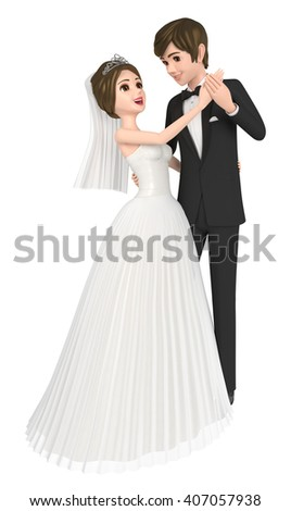 3D illustration character - The happy young couple who gets married. Two people who stare. - stock photo