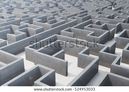 3d illustration cocrete labyrinth, complex problem solving concept