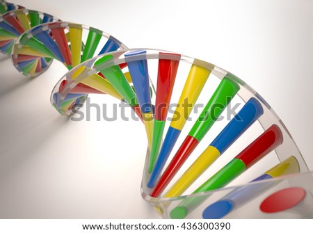 3D illustration, colorful dna, concept of genetic engineering or genetic modification. - stock photo