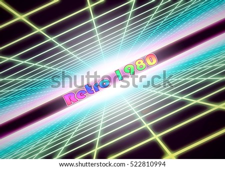 "3D Illustration - Colorful grid background with text ""Retro 1980""."