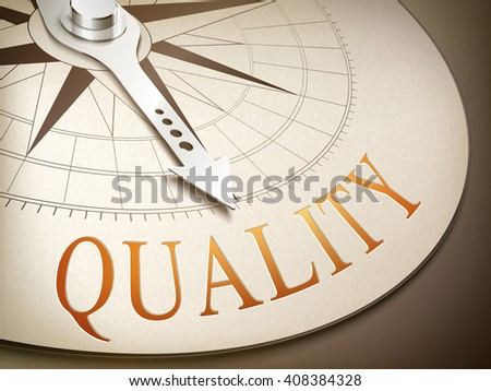 3d illustration compass with needle pointing the word quality - stock photo